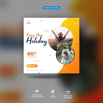 Holiday traveling social media post template premium psd