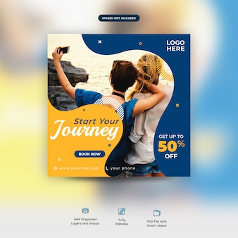 Holiday traveling together social media post template premium