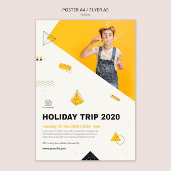 Holiday trip 2020 party poster template