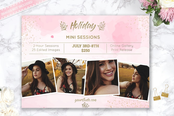 Шаблон мини фотографии сессий holiday