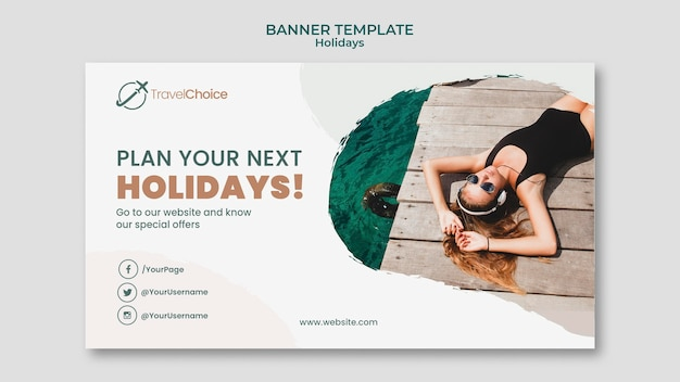 Holidays banner template with photo