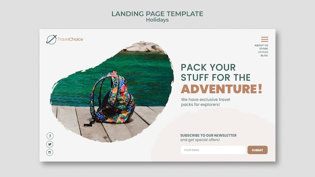 Holidays landing page template