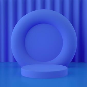 배경 및 편집 가능한 색상으로 제품 배치를위한 홀로그램 3d 기하학적 스테이지