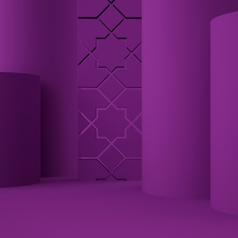 Holographic 3d geometric stage for product placement with background and editable color