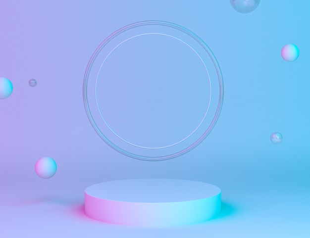 Holographic 3d geometric stage for product placement with rings background and editable color