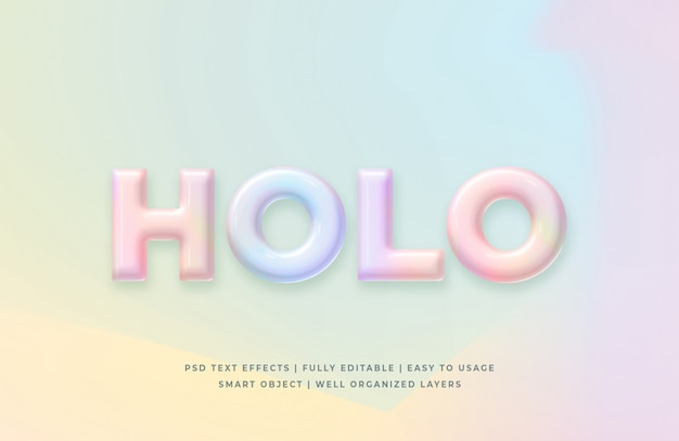 Holographic 3d text style effect mockup