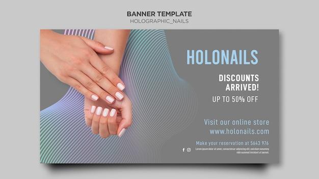 Шаблон баннера с голографическими ногтями
