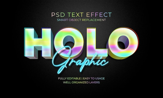 Holographic text effect template