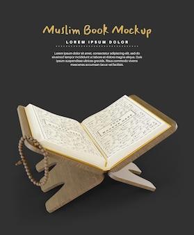 Священный коран для рамадана мусульманская книга макет 3d визуализации