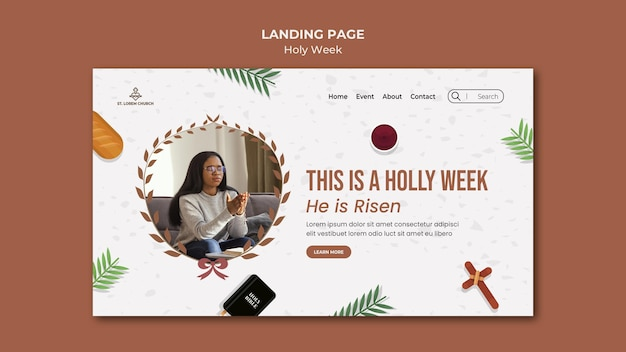 Holy week landing page with photo