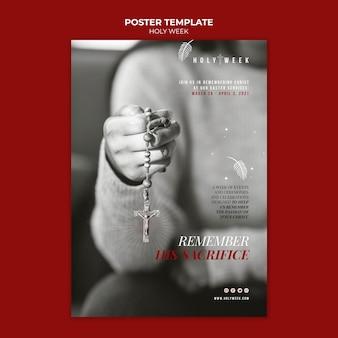 사진과 함께 거룩한 주 포스터 템플릿