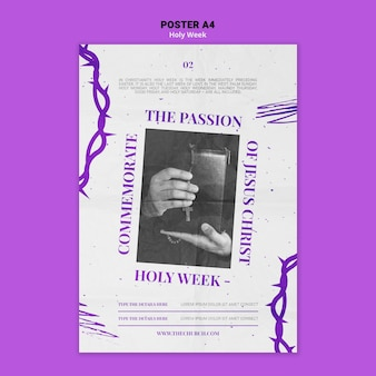 Holy week print template with photo