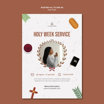 Holy week print template with photo Free Psd