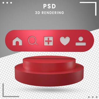 Home 3d rotated logo icon instagram isolated in 3d rendering