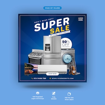 Home appliance social media square banner