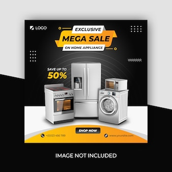 Home appliances social media square banner template
