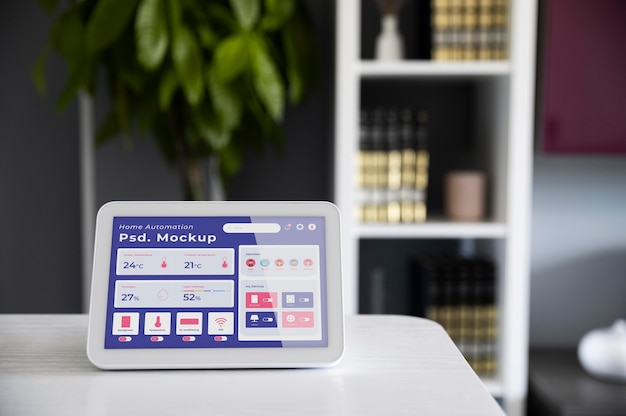 Home automation app mock-up on a tablet