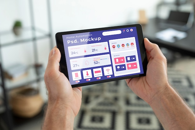 Home automation concept mockup with smartphone