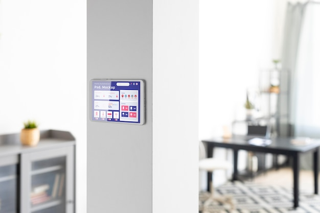 Home automation concept mockup with thermostat
