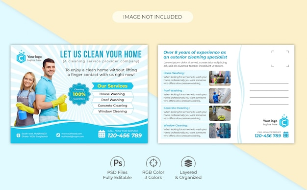 Home cleaning services foreclosure eddm postcard template