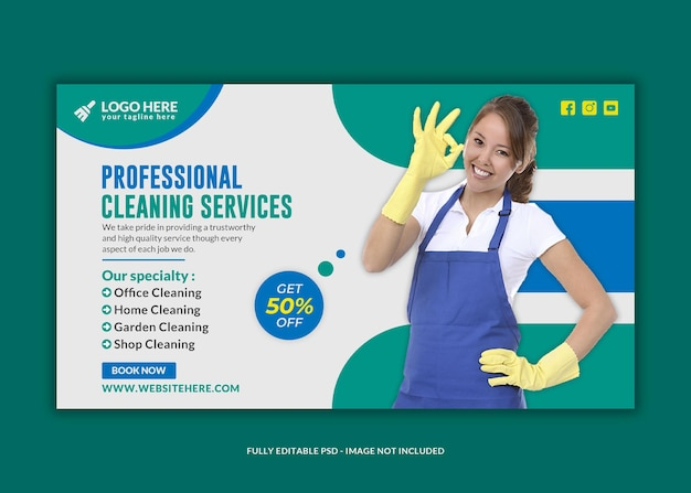 Home cleaning services social media psd