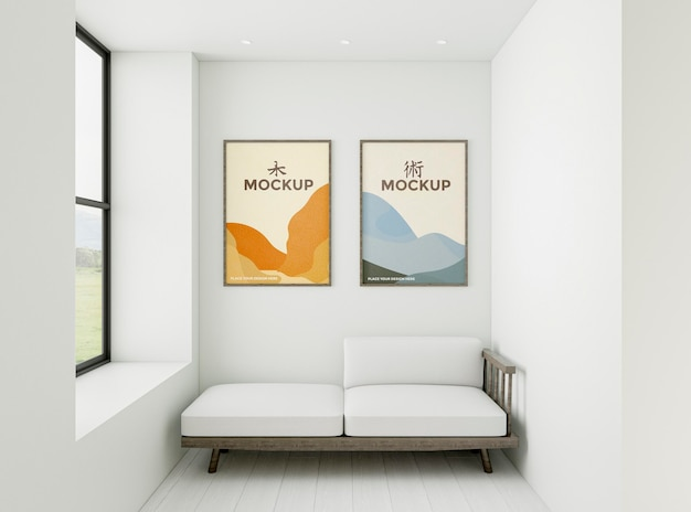 Home composition with frames mock-up
