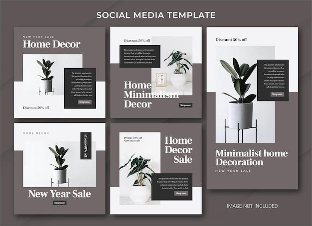 Home decor new year sale instagram post bundle template