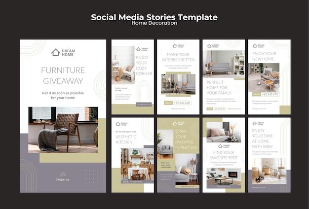 Home decoration social media stories set