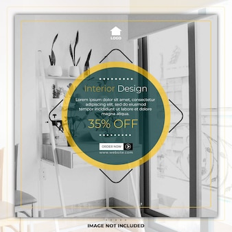 Home furniture interior design social media post template banner