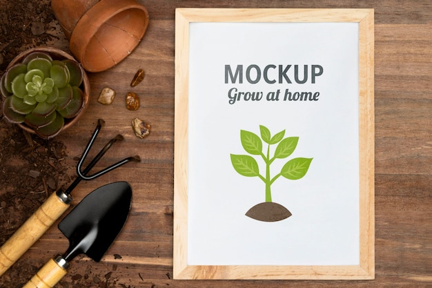 Home gardening assortment with frame mock-up