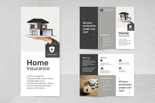 Home insurance template psd with editable text set
