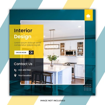 Home interior design social media post templates