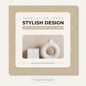 Home interior instagram post banner template Premium Psd