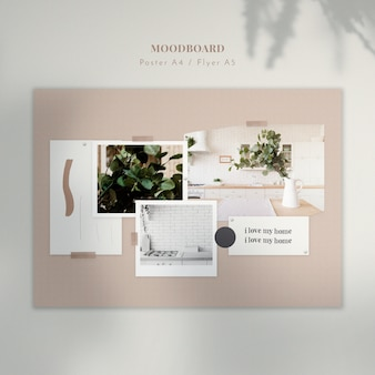 Home interior mood board template