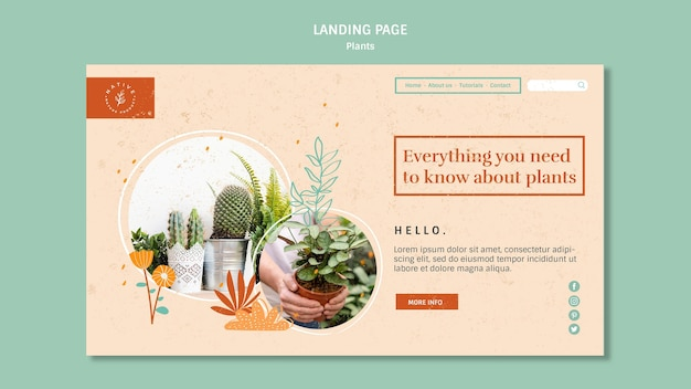 Home interior plants landing page template