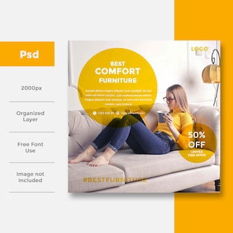 Home interior social media banner ad design
