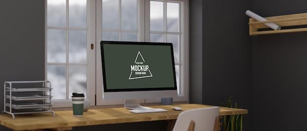 홈 오피스 개념, 컴퓨터 모니터 모형으로 설계된 현대적인 홈 오피스, 나무 책상 위의 사무용품, 조명용 창문, 검은색 벽지의 선반, 3d 렌더링, 3d 일러스트레이션