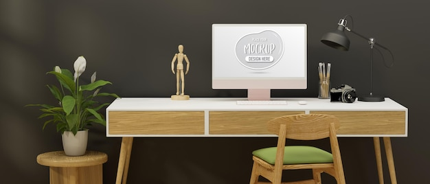 Home office desk with computer stationery camera and decorations in grey wall room 3d rendering