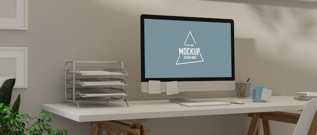Home office interior design with computer mockup and supplies on white table and plant potillustration Premium Psd