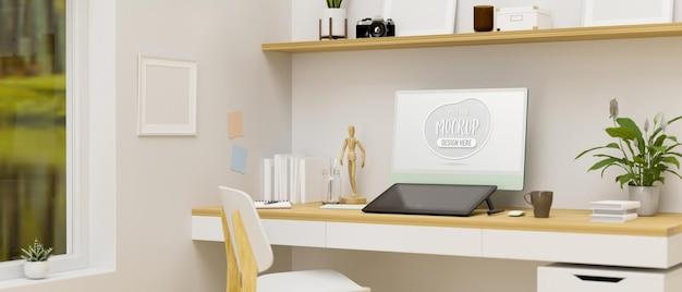 컴퓨터 드로잉 태블릿 장식 및 목재 가구 3d 렌더링 홈 오피스 룸 인테리어 디자인