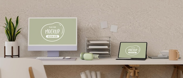 Home office with computer and laptop mockup