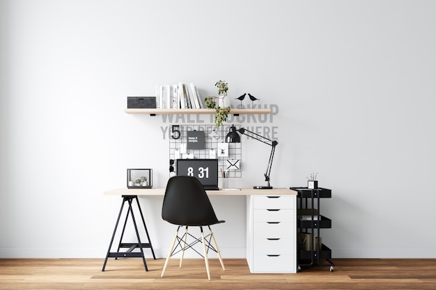 Home office workspace interior wall mockup