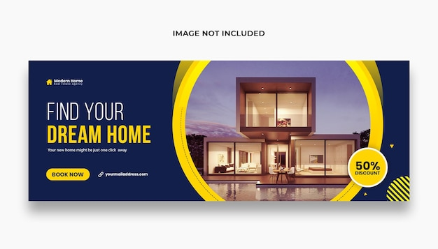 홈 판매 페이스 북 커버 또는 웹 배너 템플릿