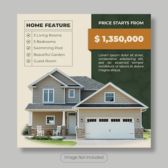 Home for sale instagram post template banner
