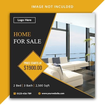 Home for sale real estate social media template