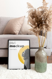 Home spaces still life mockup