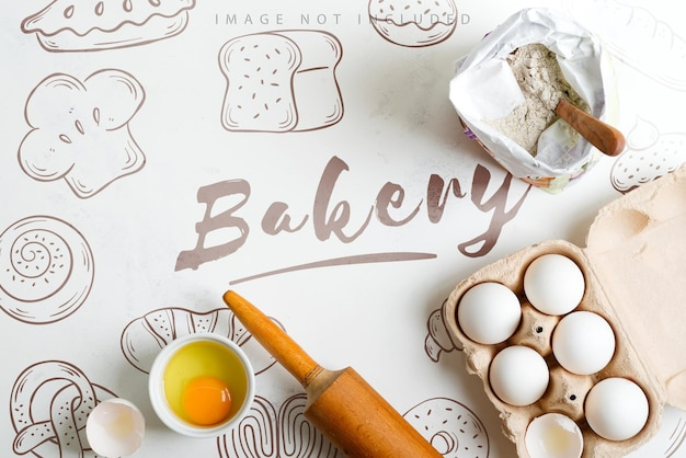 Homemade baking of fresh bread and other pastries from natural organic ingredients on surface mockup
