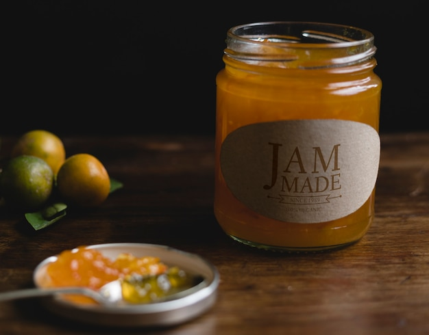 Homemade orange jam in a jar