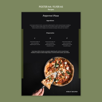 Homemade pizza poster print template