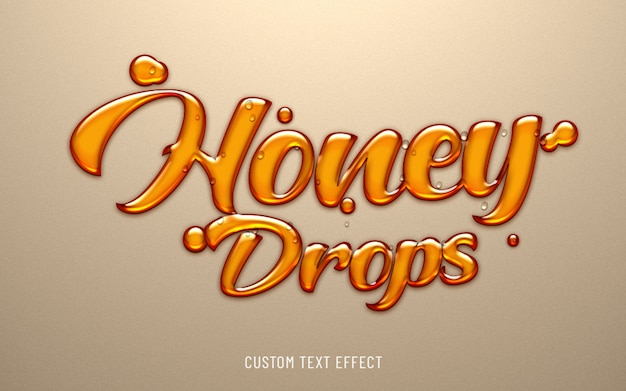 Honey drops liquid text effect